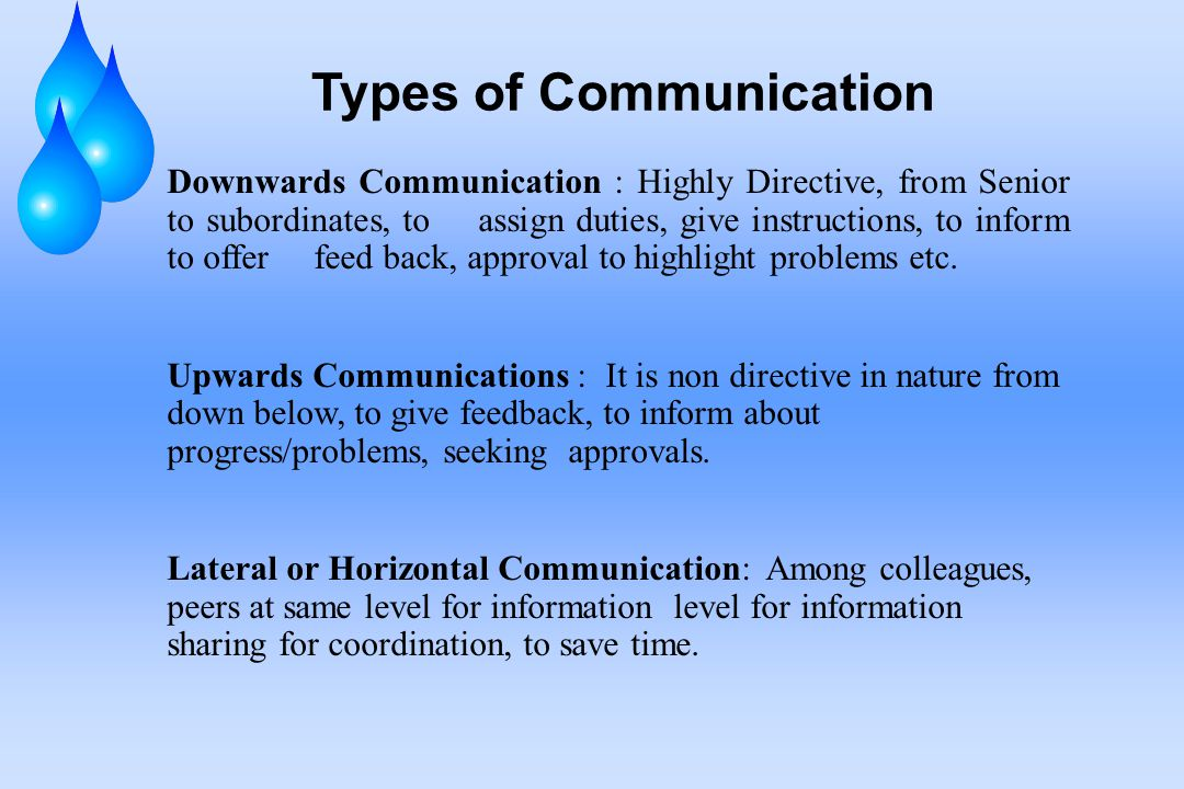 Types of Communication Downwards Communication : Highly Directive, from Senior to subordinates, to assign duties, give instructions, to inform to offer feed back, approval to highlight problems etc.