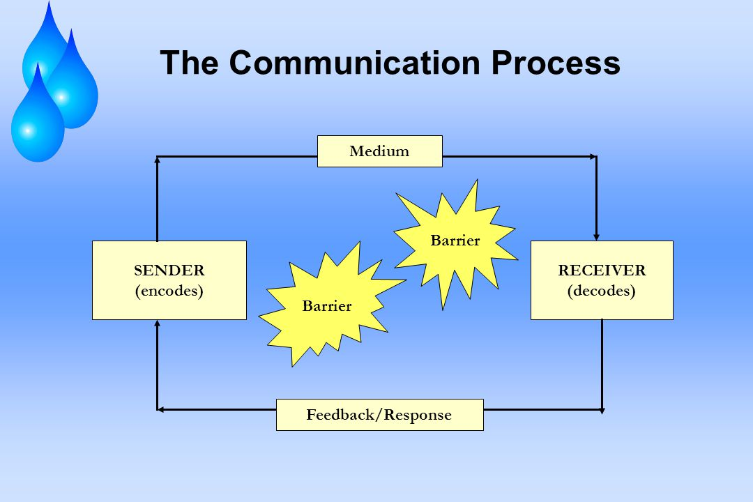 The Communication Process SENDER (encodes) RECEIVER (decodes) Barrier Medium Feedback/Response