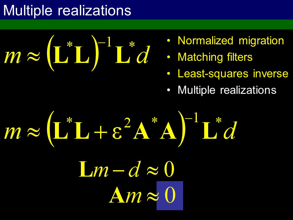 Multiple realizations Normalized migration Matching filters Least-squares inverse Multiple realizations