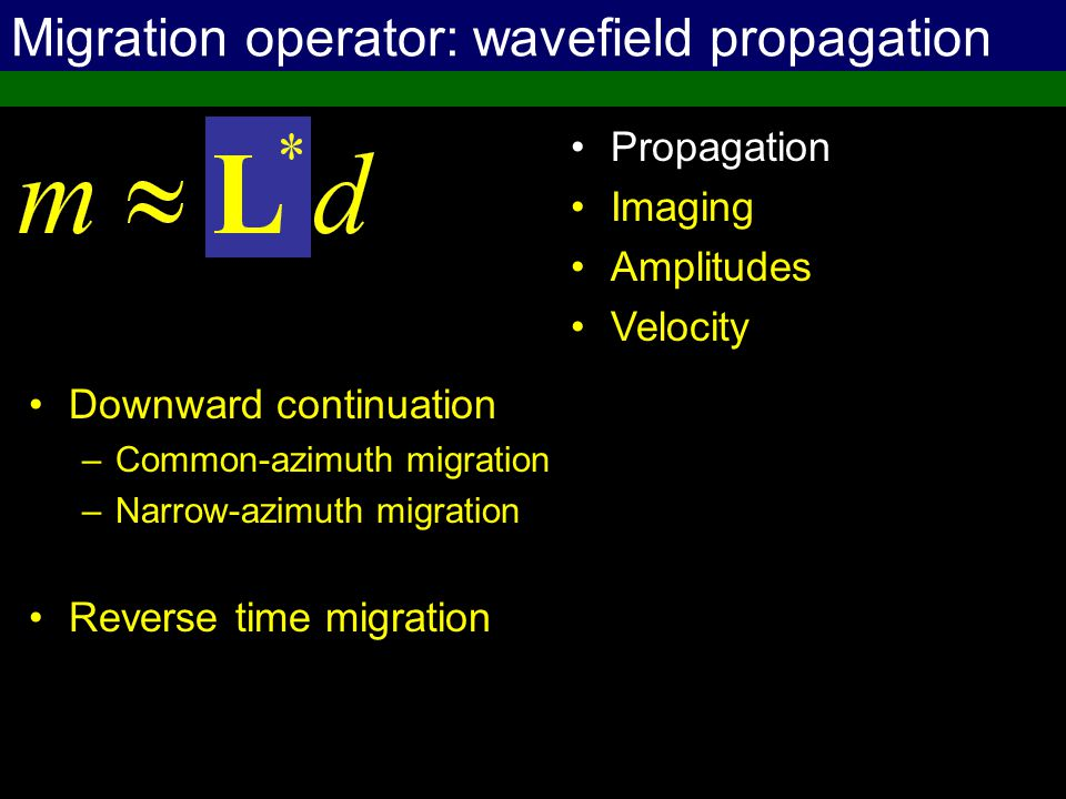 Migration operator: wavefield propagation Downward continuation –Common-azimuth migration –Narrow-azimuth migration Reverse time migration Propagation