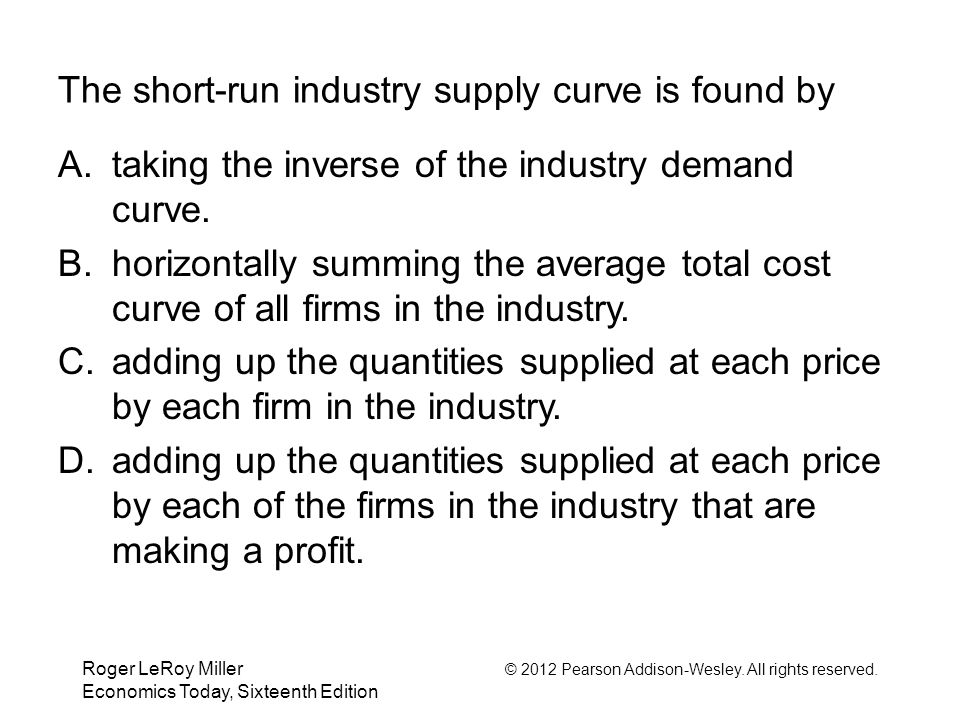 Roger LeRoy Miller © 2012 Pearson Addison-Wesley. All rights reserved. Economics Today, Sixteenth Edition The short-run industry supply curve is found
