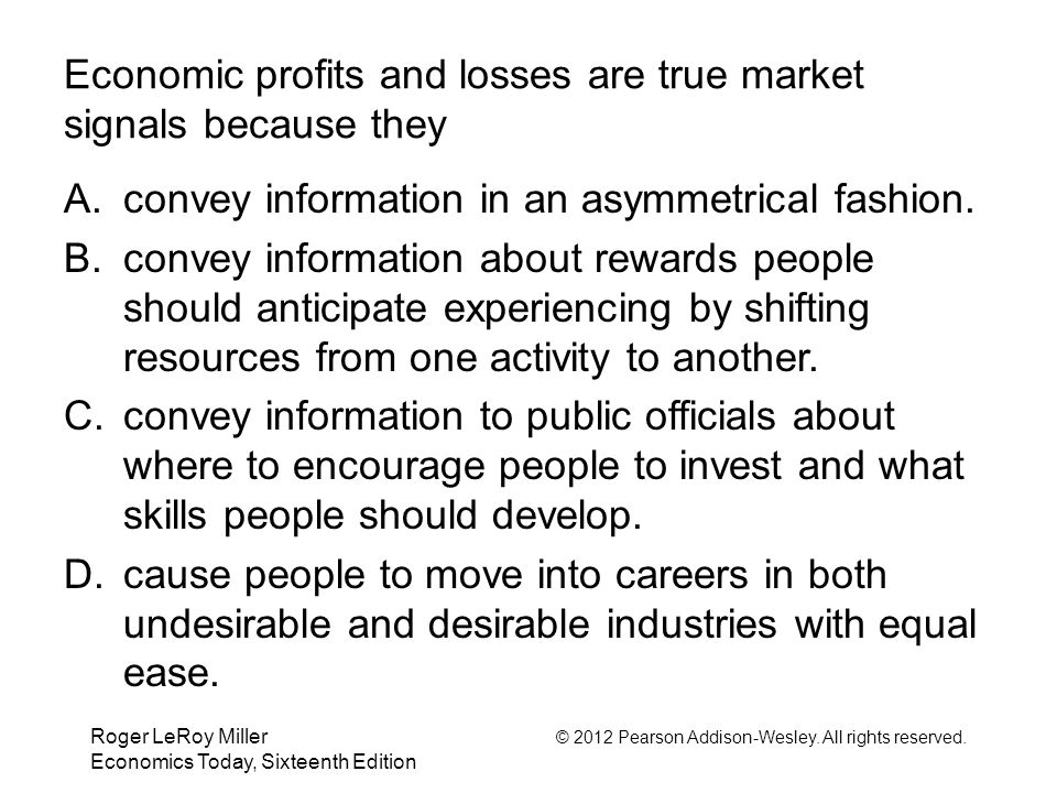 Roger LeRoy Miller © 2012 Pearson Addison-Wesley. All rights reserved. Economics Today, Sixteenth Edition Economic profits and losses are true market