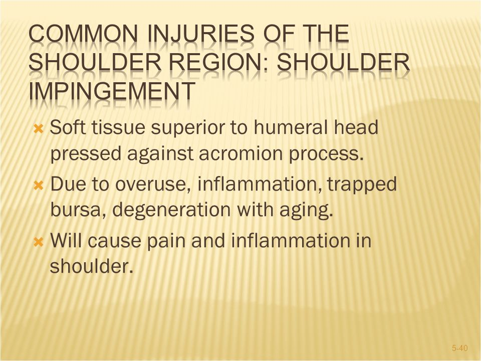 5-40  Soft tissue superior to humeral head pressed against acromion process.  Due to overuse, inflammation, trapped bursa, degeneration with aging.