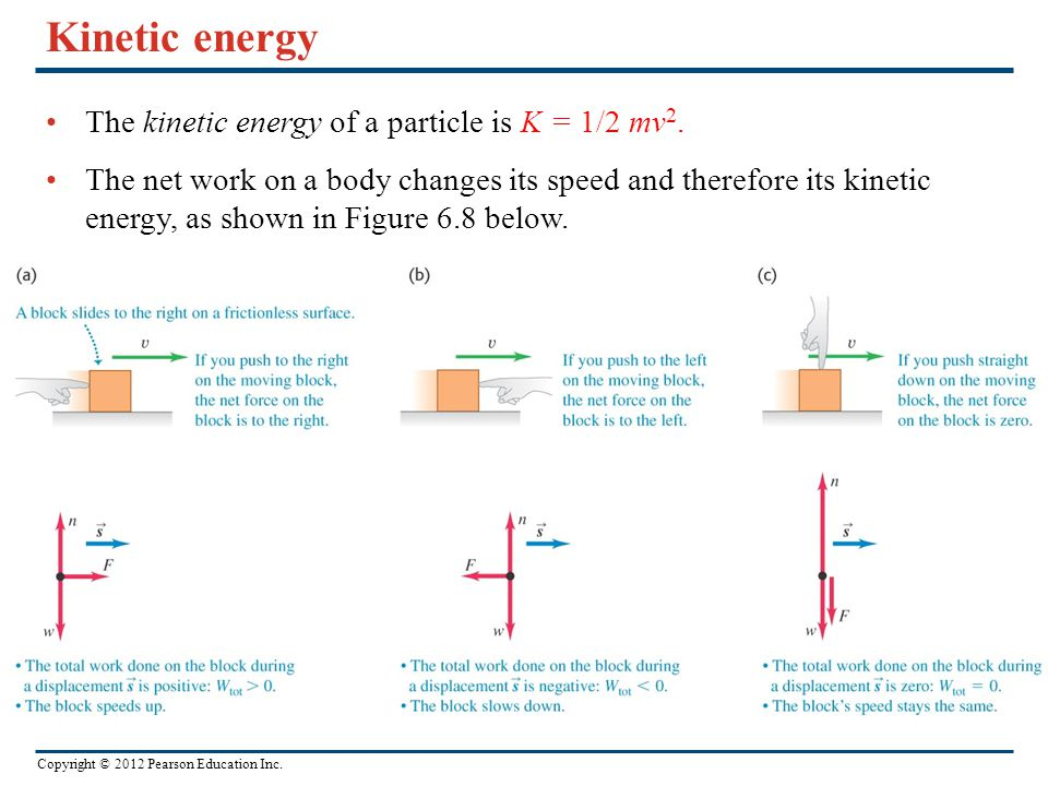 Copyright © 2012 Pearson Education Inc. Kinetic energy The kinetic energy of a particle is K = 1/2 mv 2. The net work on a body changes its speed and