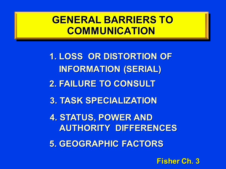 GENERAL BARRIERS TO COMMUNICATION GENERAL BARRIERS TO COMMUNICATION 1. LOSS OR DISTORTION OF INFORMATION (SERIAL) INFORMATION (SERIAL) Fisher Ch. 3 5.