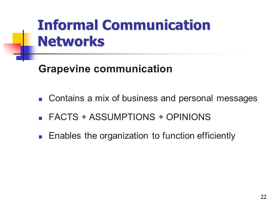 22 Informal Communication Networks Grapevine communication Contains a mix of business and personal messages FACTS + ASSUMPTIONS + OPINIONS Enables the organization to function efficiently