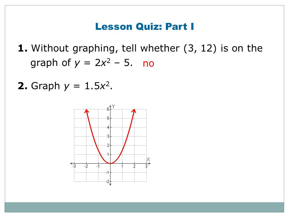 Check It Out! Example 3a Tell whether the graph of each quadratic function opens upward or downward. Explain. f(x) = –4x 2 – x + 1 Identify the value