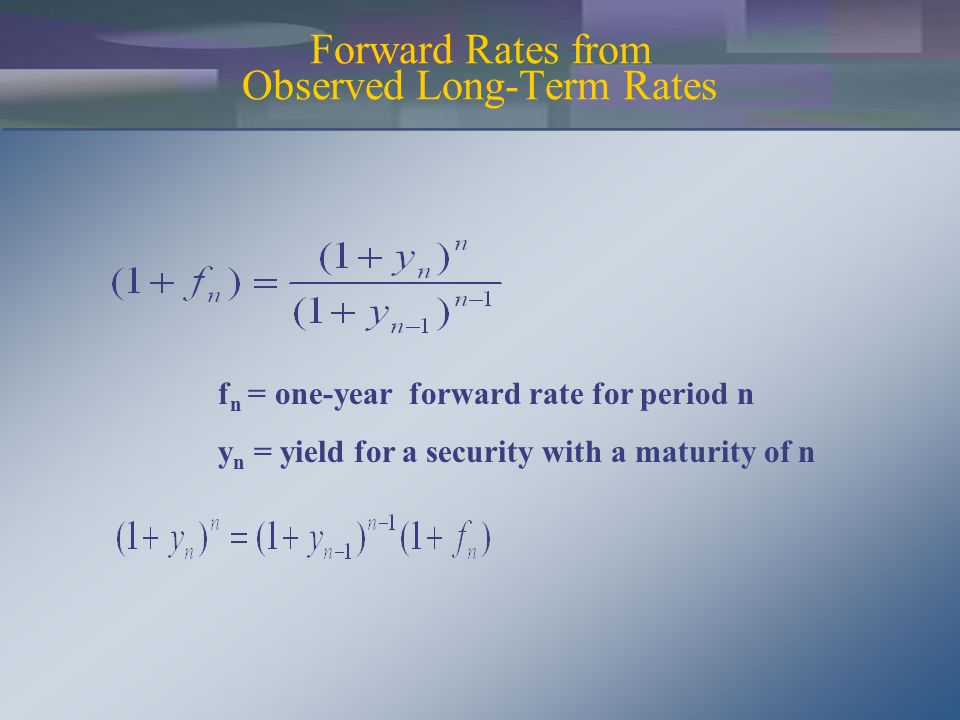 f n = one-year forward rate for period n y n = yield for a security with a maturity of n Forward Rates from Observed Long-Term Rates