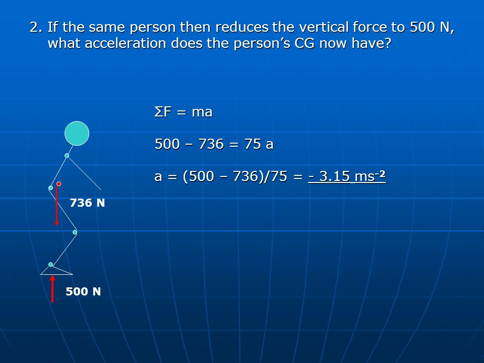 2. If the same person then reduces the vertical force to 500 N, what acceleration does the person's CG now have? 736 N 500 N ΣF = ma 500 – 736 = 75 a