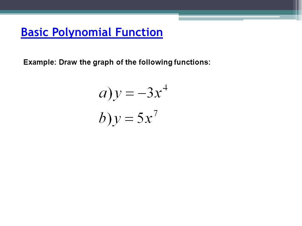 Example: Draw the graph of the following functions: