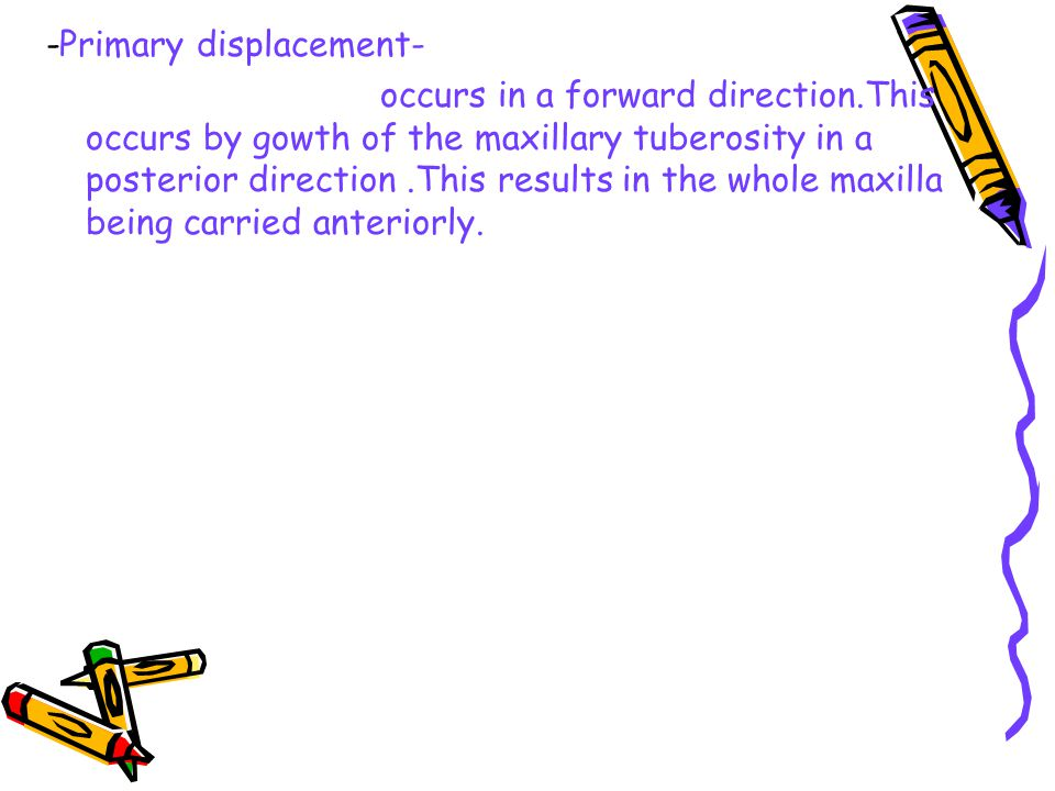 -Primary displacement- occurs in a forward direction.This occurs by gowth of the maxillary tuberosity in a posterior direction.This results in the who