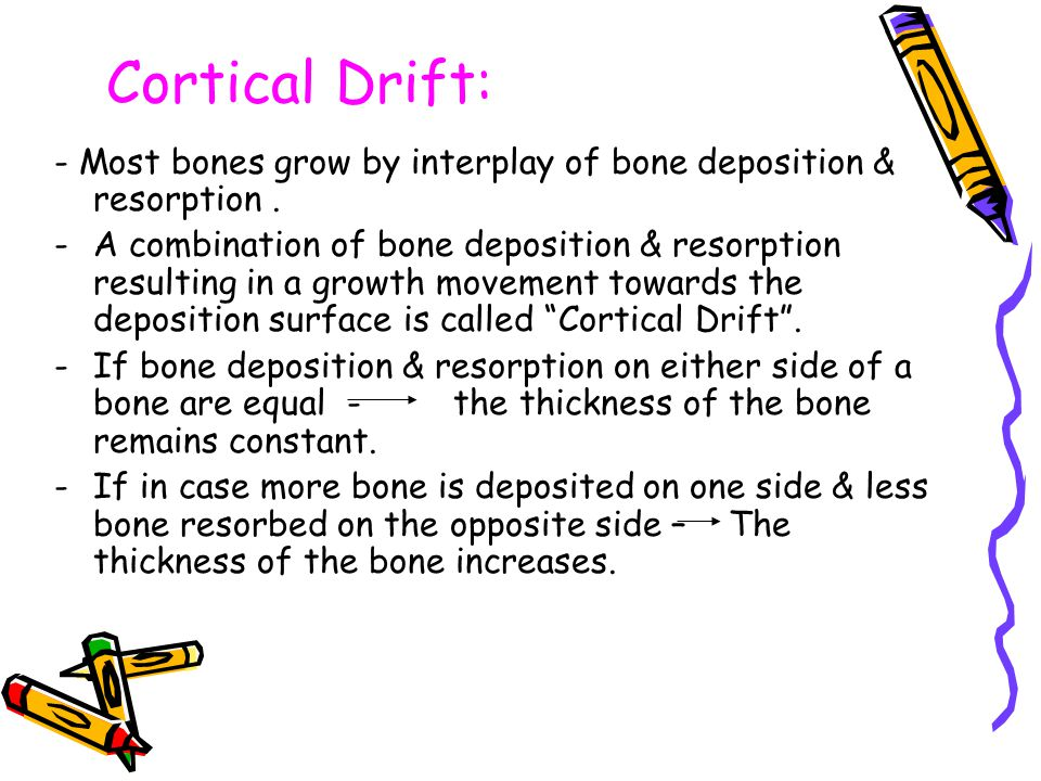 Cortical Drift: - Most bones grow by interplay of bone deposition & resorption. -A combination of bone deposition & resorption resulting in a growth m