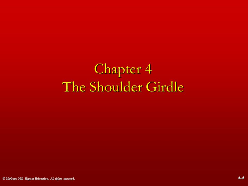 © McGraw-Hill Higher Education. All rights reserved. 4-4 Chapter 4 The Shoulder Girdle