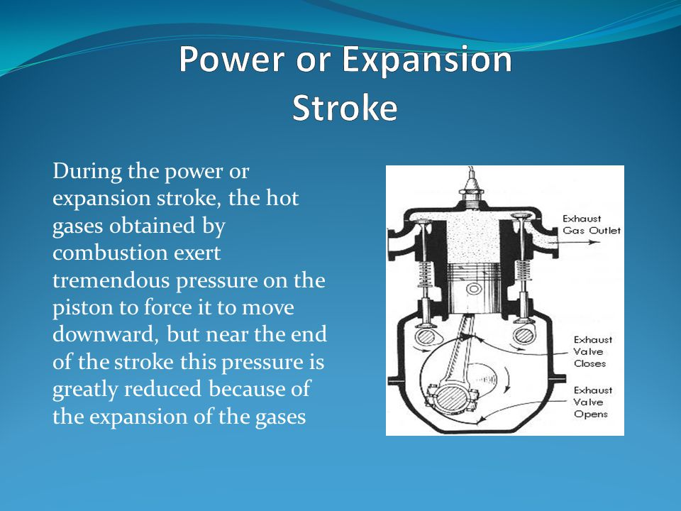 During the power or expansion stroke, the hot gases obtained by combustion exert tremendous pressure on the piston to force it to move downward, but n