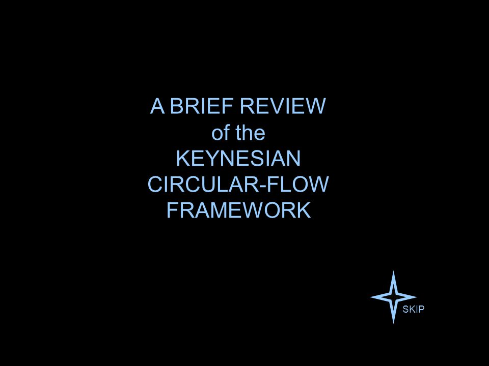Keynes's vision of the economy suggests a circular-flow framework — in which earning and spending are brought into balance by changes in the level of employment.