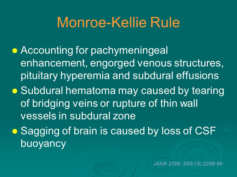 Monroe-Kellie Rule Accounting for pachymeningeal enhancement, engorged venous structures, pituitary hyperemia and subdural effusions Subdural hematoma