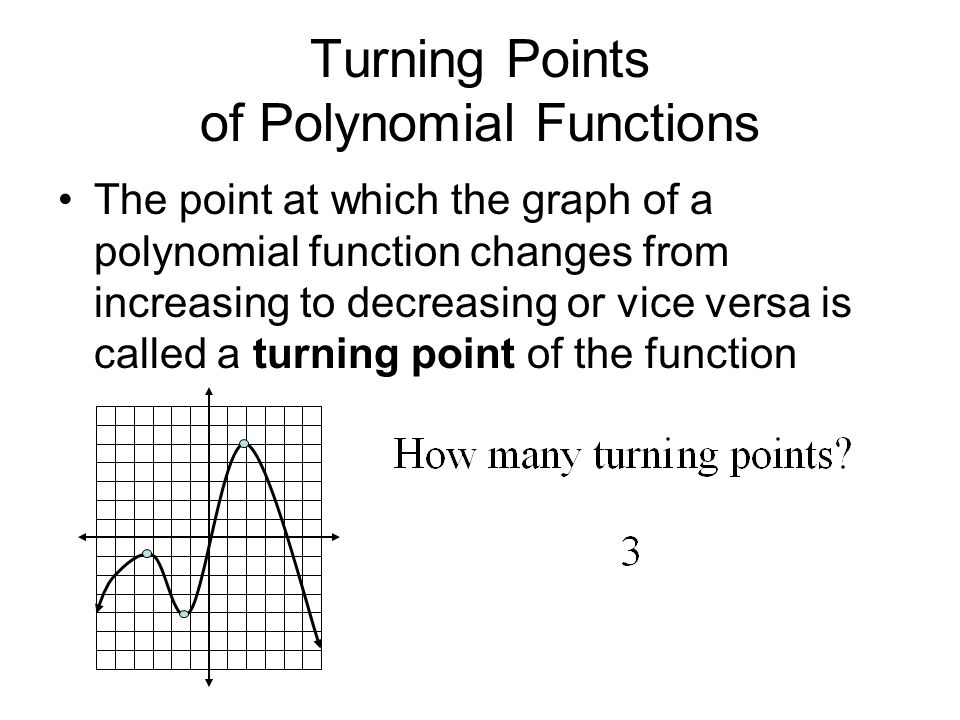 Turning Points of Polynomial Functions The point at which the graph of a polynomial function changes from increasing to decreasing or vice versa is called a turning point of the function