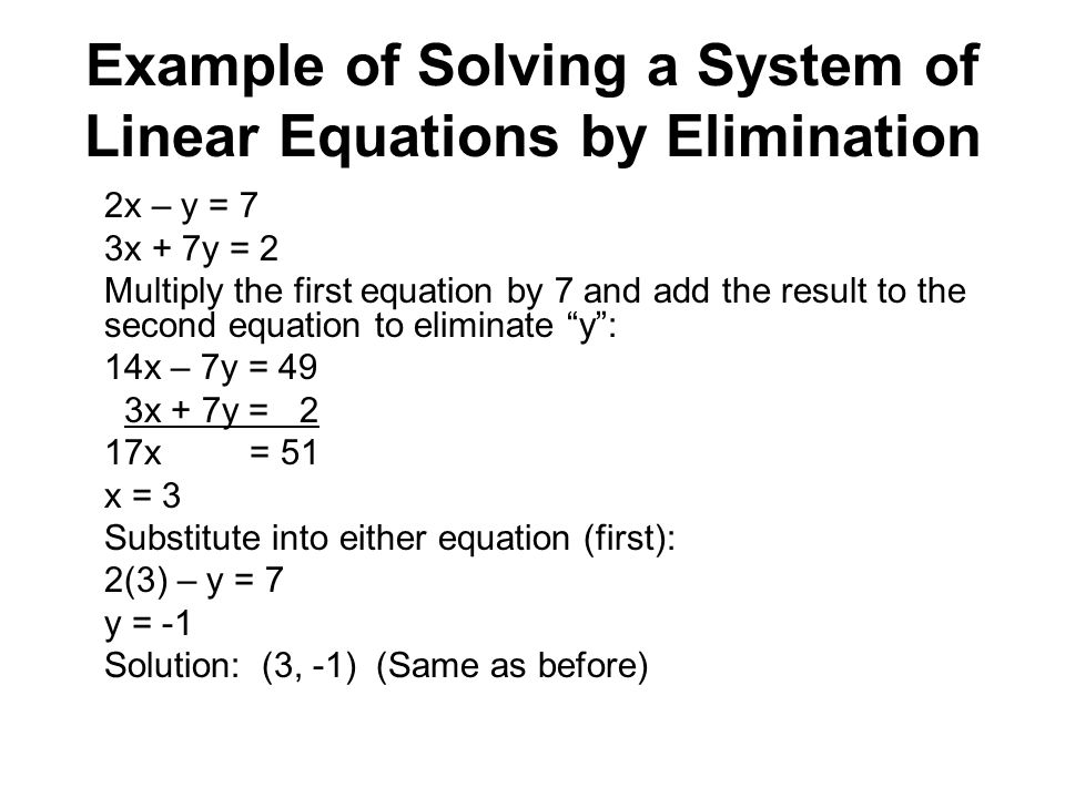 Example of Solving a System of Linear Equations by Elimination 2x – y = 7 3x + 7y = 2 Multiply the first equation by 7 and add the result to the second equation to eliminate y : 14x – 7y = 49 3x + 7y = 2 17x = 51 x = 3 Substitute into either equation (first): 2(3) – y = 7 y = -1 Solution: (3, -1) (Same as before)