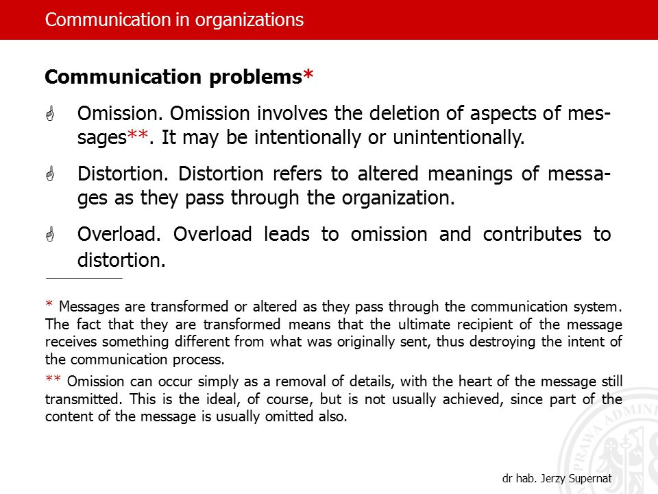 Communication in organizations dr hab. Jerzy Supernat Communication problems*  Omission.