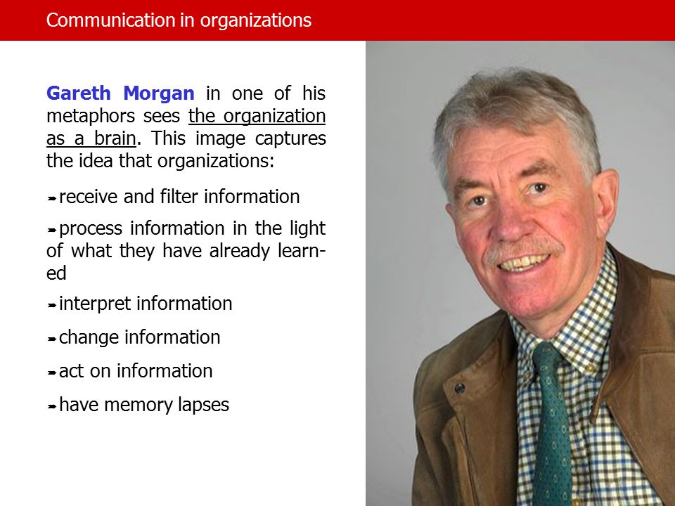 Communication in organizations Gareth Morgan in one of his metaphors sees the organization as a brain.