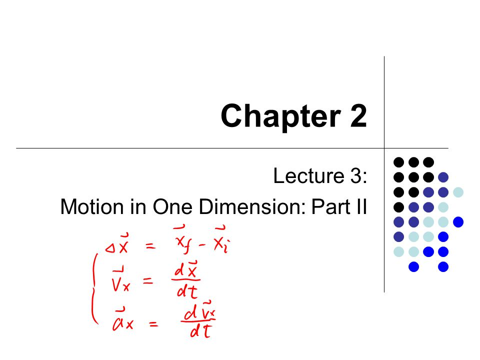 Chapter 2 Lecture 3: Motion in One Dimension: Part II