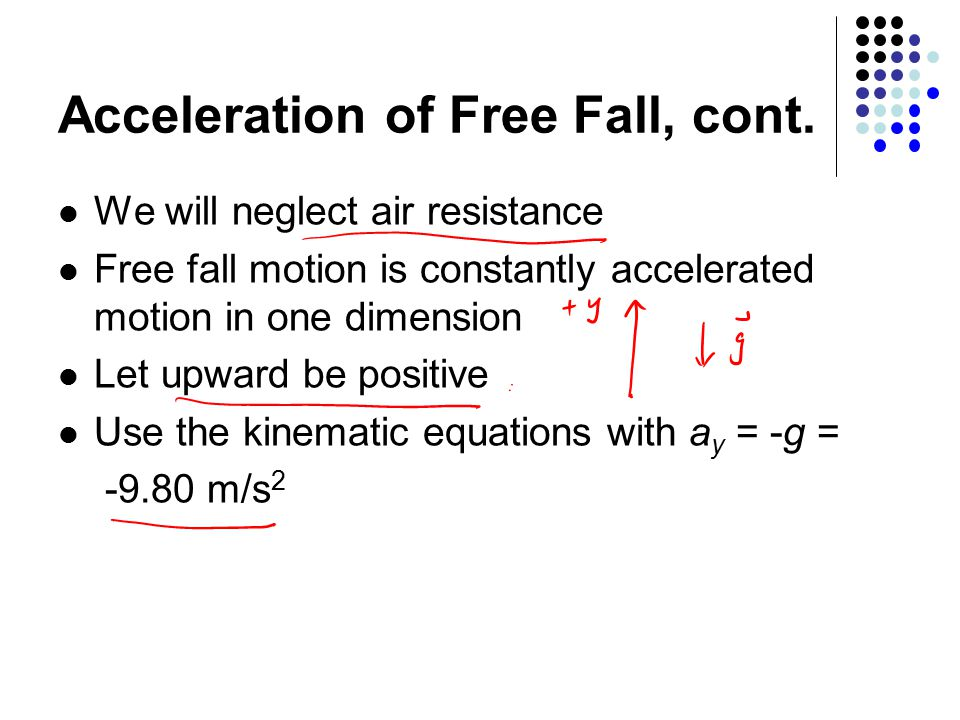 Acceleration of Free Fall, cont.
