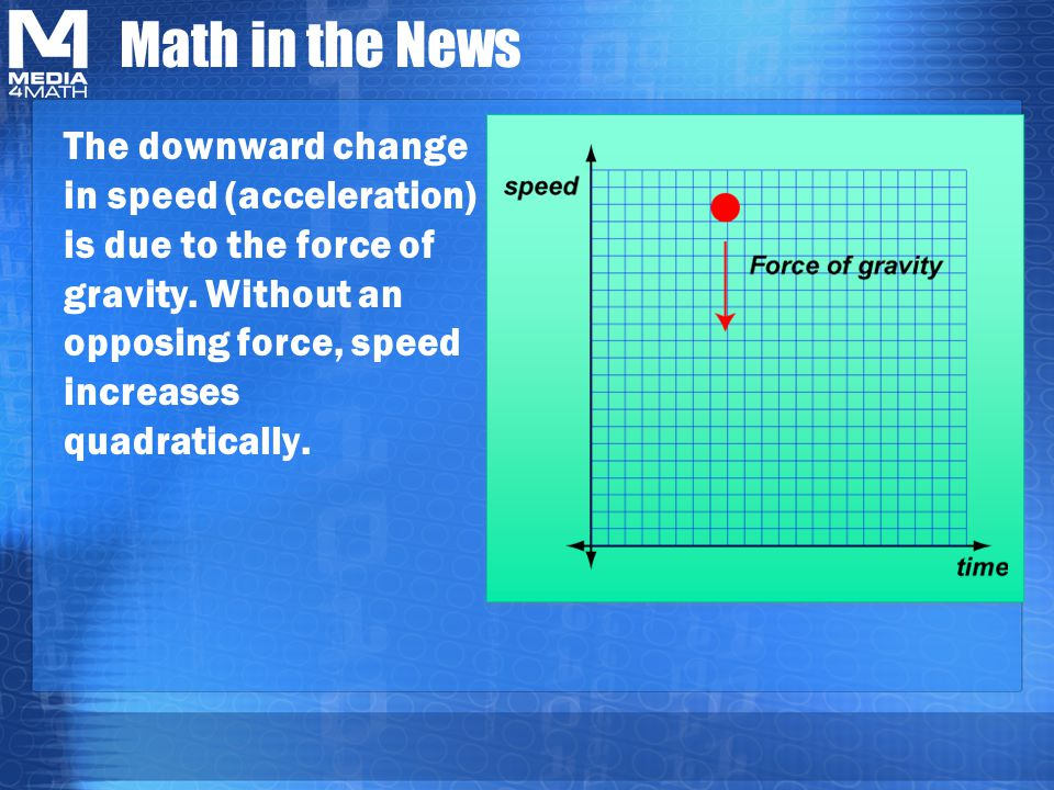 Math in the News The downward change in speed (acceleration) is due to the force of gravity.