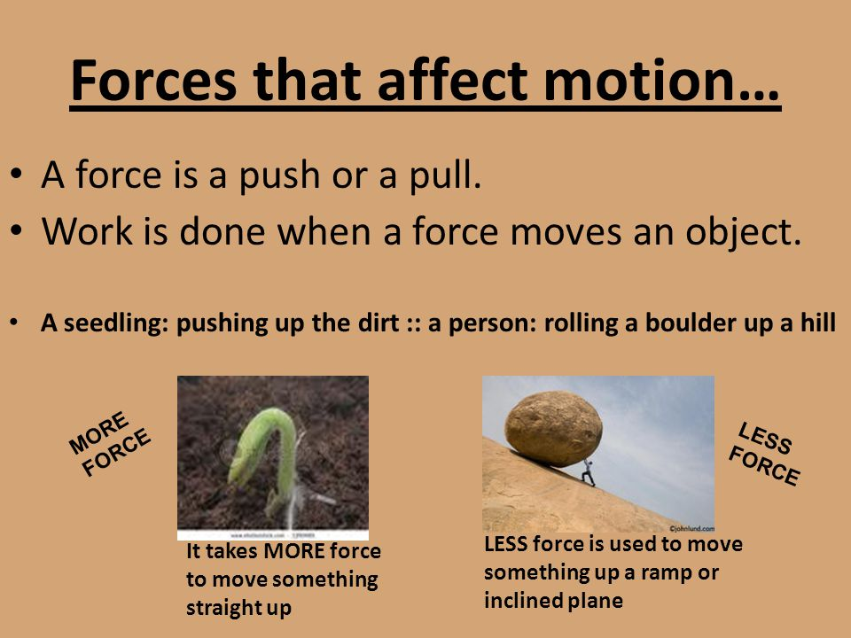 Forces that affect motion… A force is a push or a pull. Work is done when a force moves an object. A seedling: pushing up the dirt :: a person: rollin