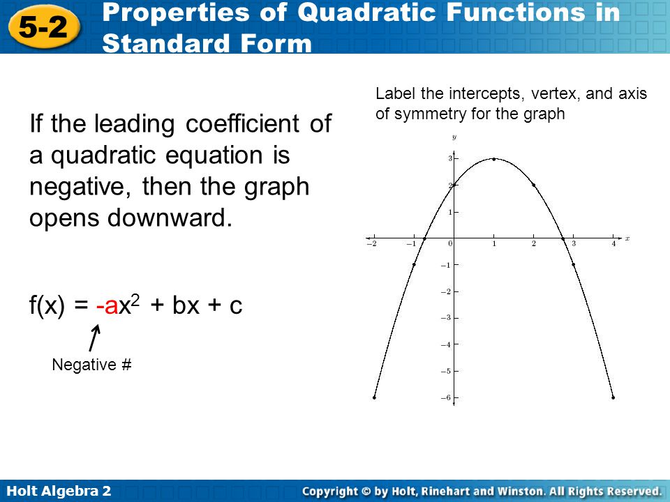 Holt Algebra 2 5-2 Properties of Quadratic Functions in Standard Form If the leading coefficient of a quadratic equation is negative, then the graph o