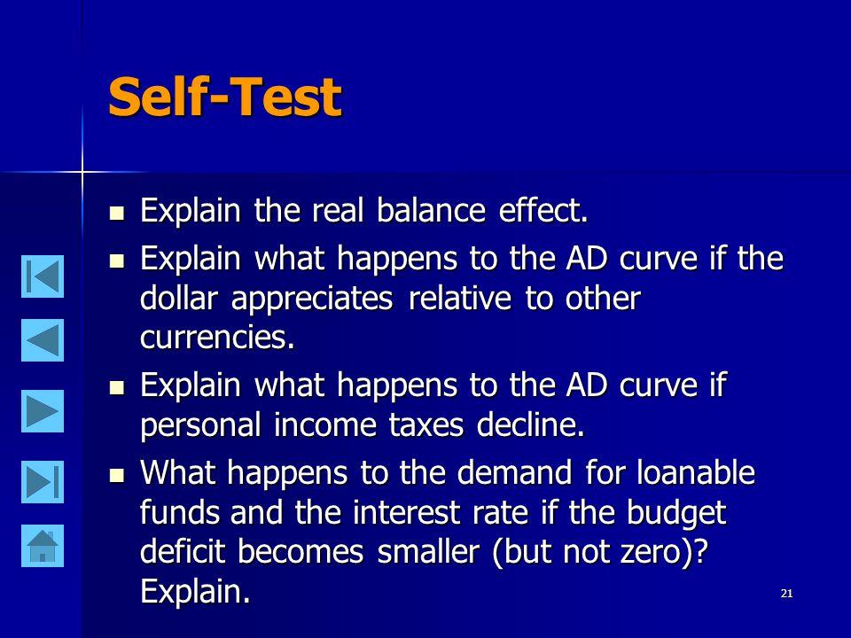 21 Self-Test Explain the real balance effect.Explain the real balance effect.