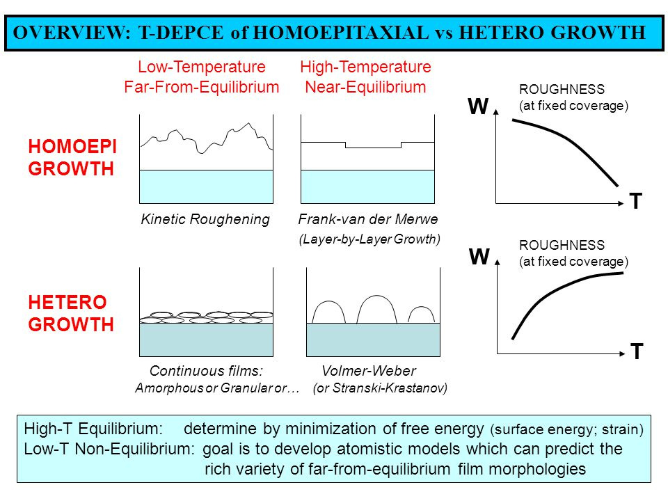 OVERVIEW: T-DEPCE of HOMOEPITAXIAL vs HETERO GROWTH HOMOEPI GROWTH HETERO GROWTH W T W T Low-Temperature High-Temperature Far-From-Equilibrium Near-Equilibrium Kinetic Roughening Frank-van der Merwe (Layer-by-Layer Growth) Continuous films: Volmer-Weber Amorphous or Granular or… (or Stranski-Krastanov) High-T Equilibrium: determine by minimization of free energy (surface energy; strain) Low-T Non-Equilibrium: goal is to develop atomistic models which can predict the rich variety of far-from-equilibrium film morphologies ROUGHNESS (at fixed coverage) ROUGHNESS (at fixed coverage)