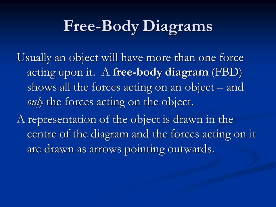 Free-Body Diagrams Usually an object will have more than one force acting upon it.