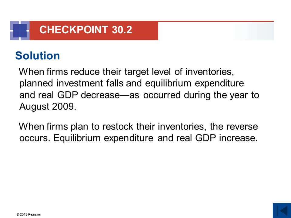 © 2013 Pearson Solution When firms reduce their target level of inventories, planned investment falls and equilibrium expenditure and real GDP decreas