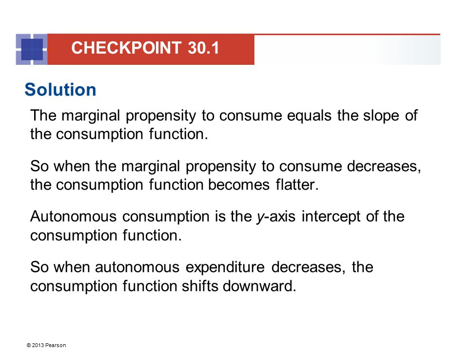 © 2013 Pearson Solution If real GDP is $600 billion, aggregate planned expenditure is $490 billion.