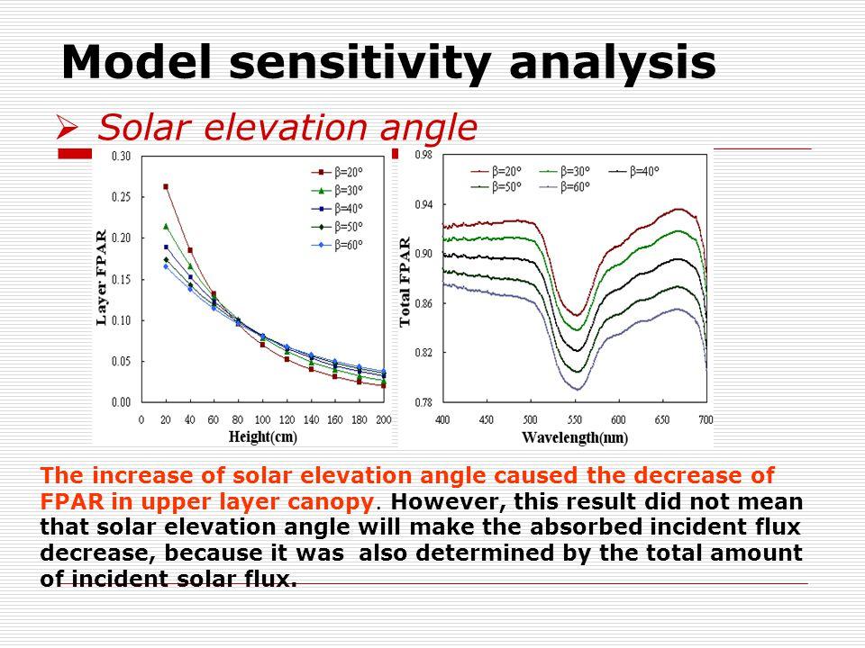 Model sensitivity analysis  Solar elevation angle The increase of solar elevation angle caused the decrease of FPAR in upper layer canopy.