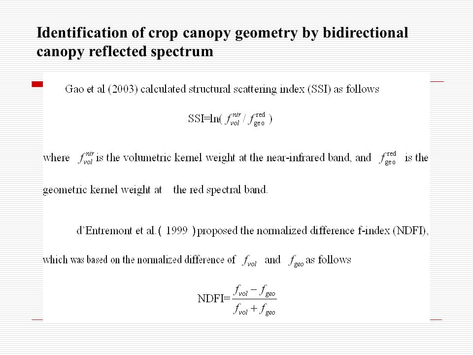 Identification of crop canopy geometry by bidirectional canopy reflected spectrum