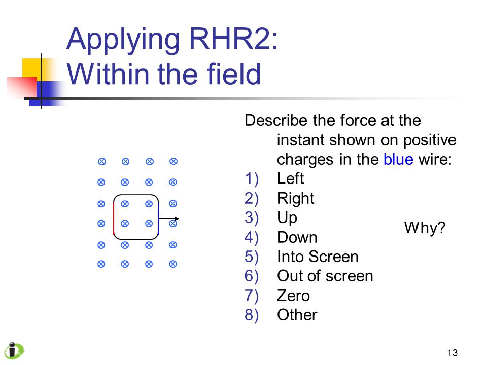 13 Applying RHR2: Within the field Describe the force at the instant shown on positive charges in the blue wire: 1)Left 2)Right 3)Up 4)Down 5)Into Screen 6)Out of screen 7)Zero 8)Other Why