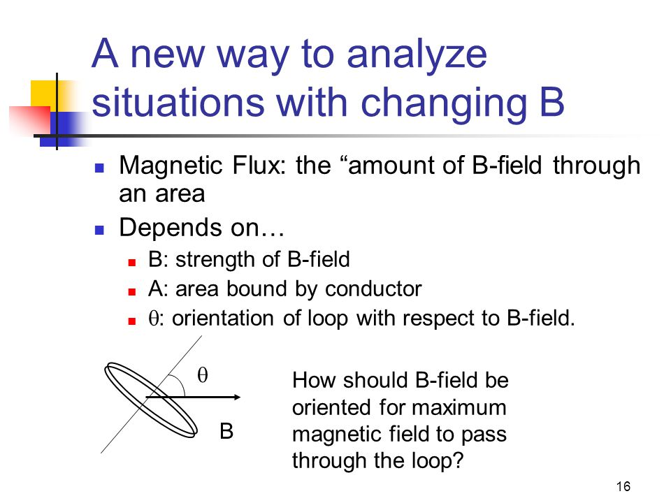 16 A new way to analyze situations with changing B Magnetic Flux: the amount of B-field through an area Depends on… B: strength of B-field A: area bound by conductor  : orientation of loop with respect to B-field.