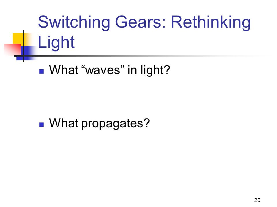 "20 Switching Gears: Rethinking Light What ""waves"" in light? What propagates?"