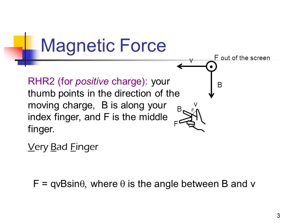 3 Magnetic Force v B RHR2 (for positive charge): your thumb points in the direction of the moving charge, B is along your index finger, and F is the middle finger.