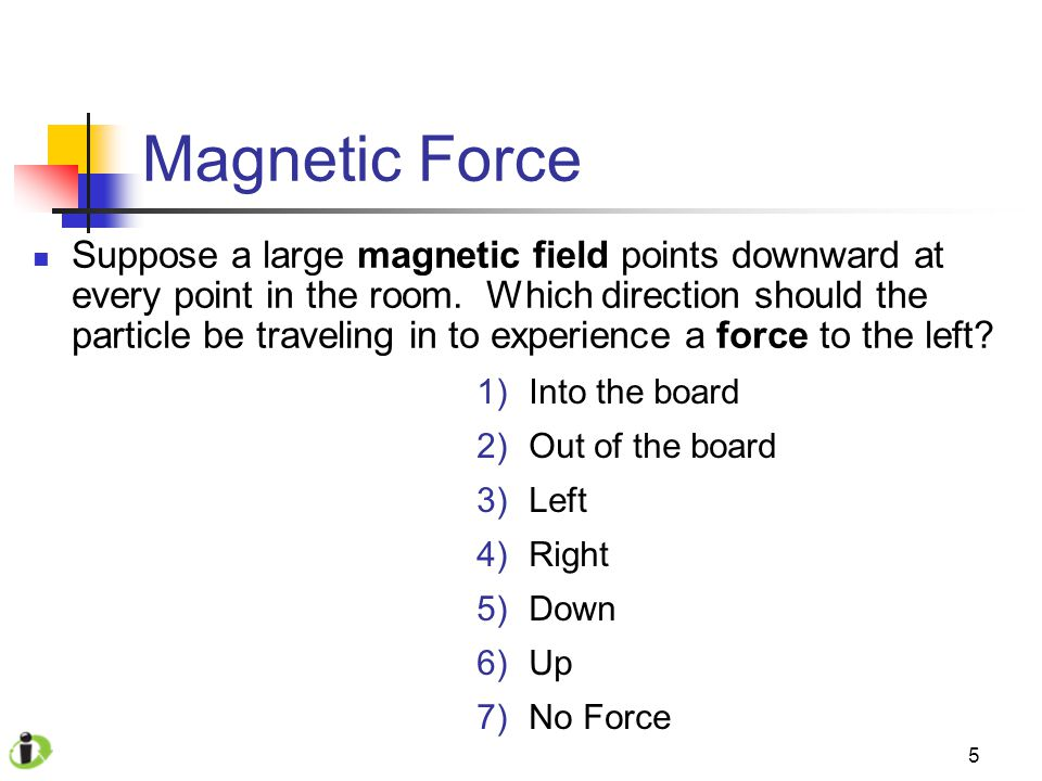 5 Magnetic Force Suppose a large magnetic field points downward at every point in the room.