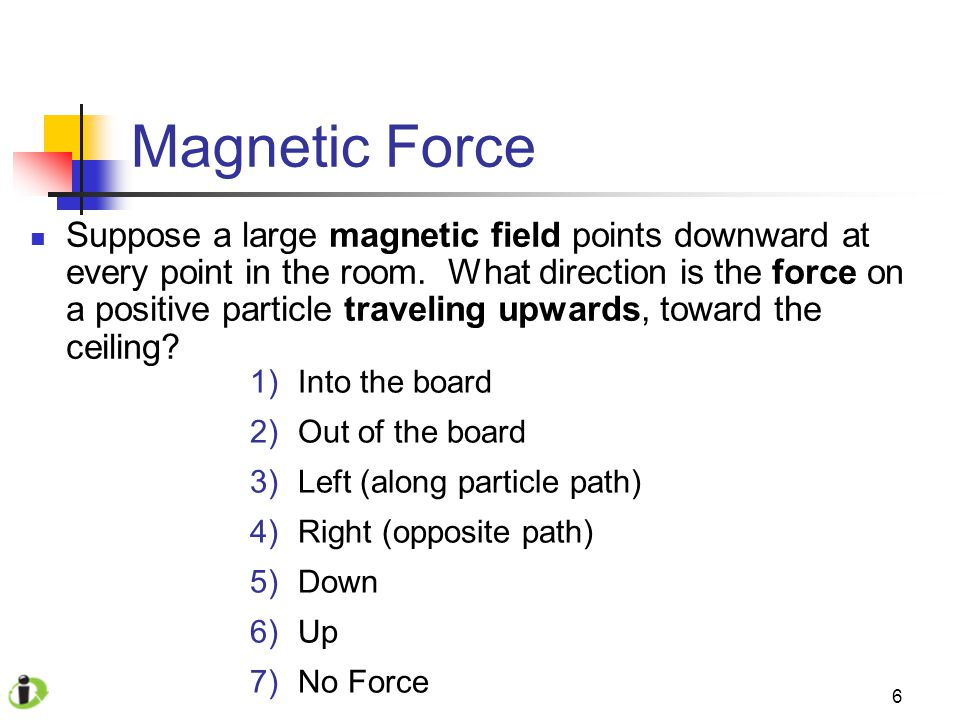 6 Magnetic Force Suppose a large magnetic field points downward at every point in the room.