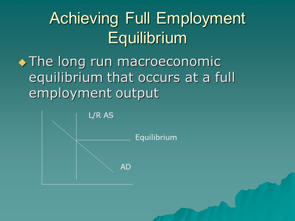 Achieving Full Employment Equilibrium  The long run macroeconomic equilibrium that occurs at a full employment output AD L/R AS Equilibrium