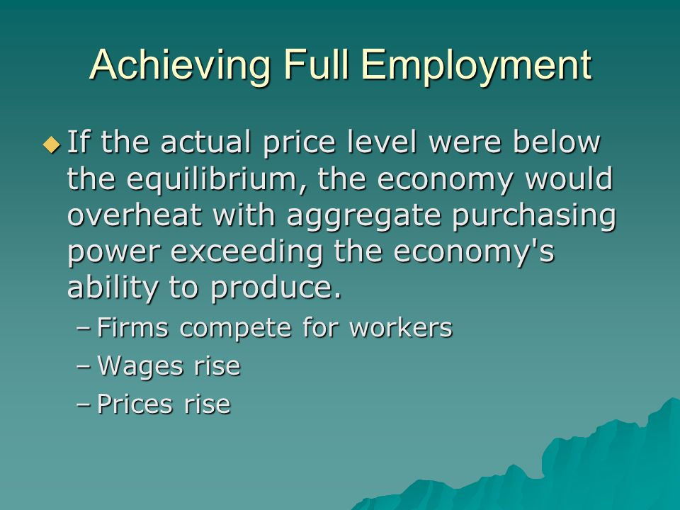 Achieving Full Employment  If the actual price level were below the equilibrium, the economy would overheat with aggregate purchasing power exceeding