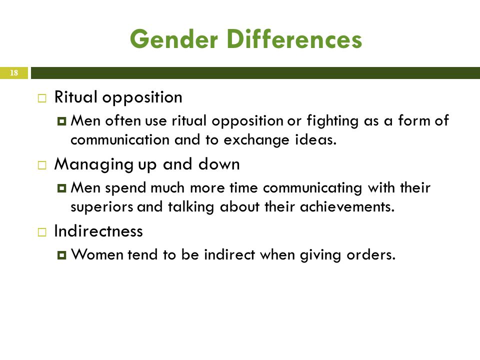 Gender Differences  Ritual opposition  Men often use ritual opposition or fighting as a form of communication and to exchange ideas.