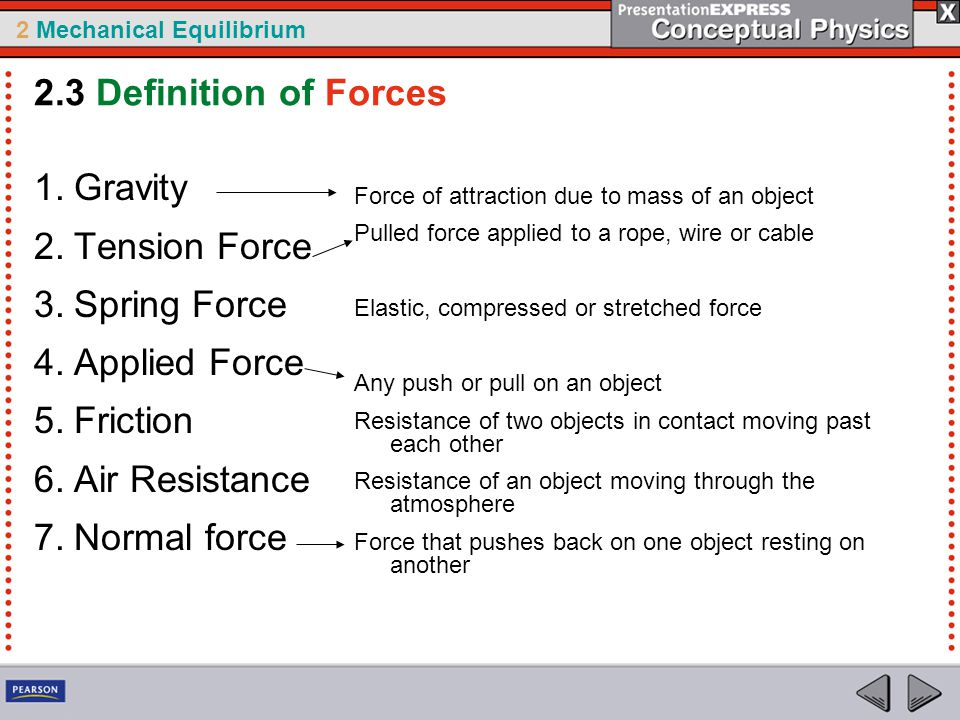 2 Mechanical Equilibrium 2.3 Definition of Forces 1.Gravity 2.Tension Force 3.Spring Force 4.Applied Force 5.Friction 6.Air Resistance 7.Normal force Force of attraction due to mass of an object Pulled force applied to a rope, wire or cable Elastic, compressed or stretched force Any push or pull on an object Resistance of two objects in contact moving past each other Resistance of an object moving through the atmosphere Force that pushes back on one object resting on another