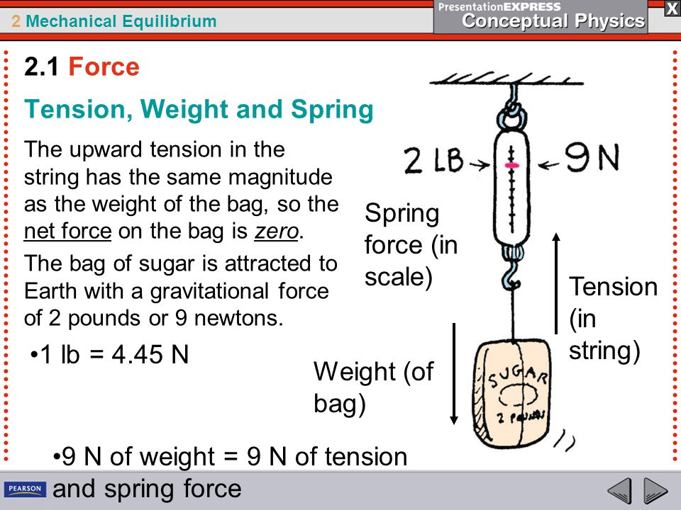 2 Mechanical Equilibrium Tension, Weight and Spring The upward tension in the string has the same magnitude as the weight of the bag, so the net force on the bag is zero.