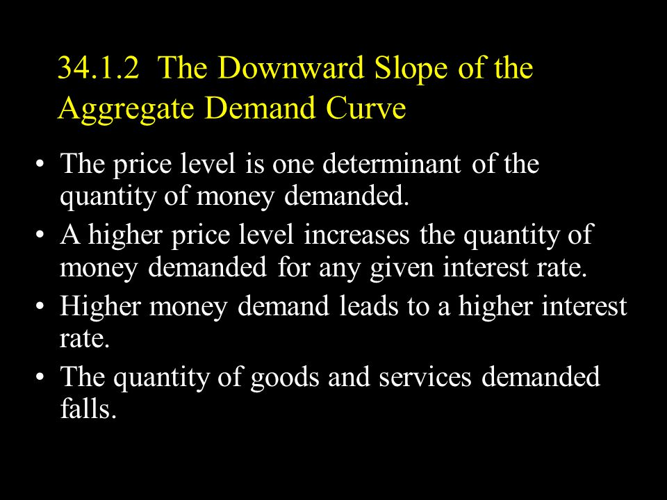 34.1.2 The Downward Slope of the Aggregate Demand Curve The price level is one determinant of the quantity of money demanded.