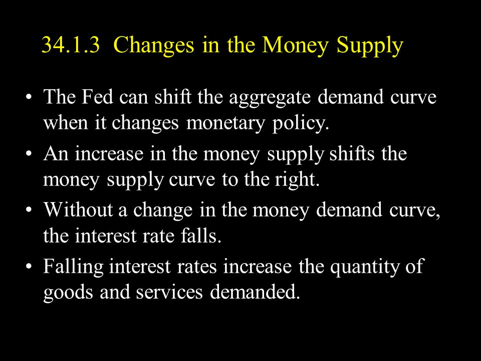 34.1.3 Changes in the Money Supply The Fed can shift the aggregate demand curve when it changes monetary policy.