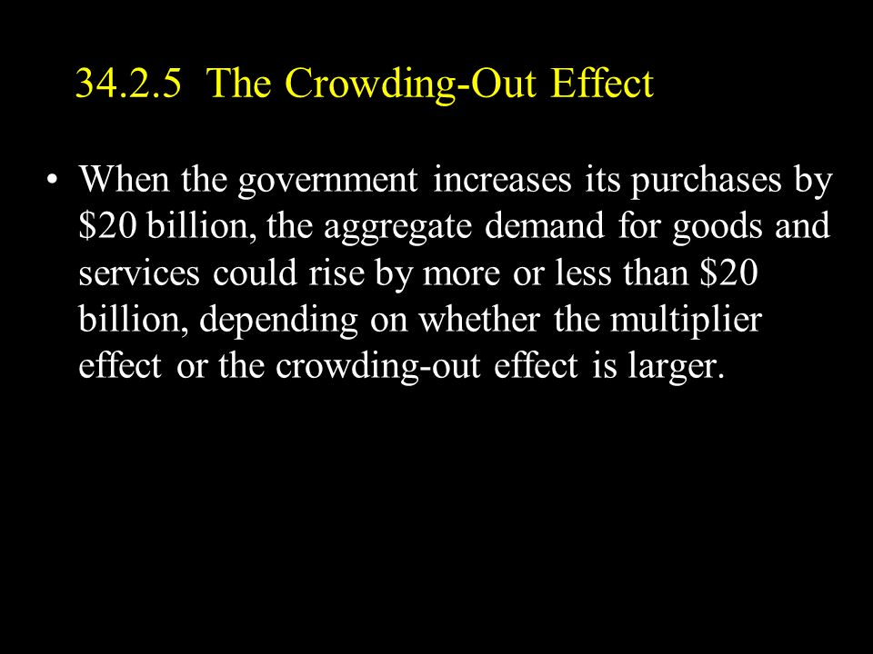 34.2.5 The Crowding-Out Effect When the government increases its purchases by $20 billion, the aggregate demand for goods and services could rise by more or less than $20 billion, depending on whether the multiplier effect or the crowding-out effect is larger.